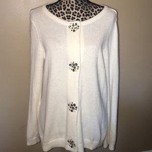 White Embellished Jewel Snap Closure Cardigan